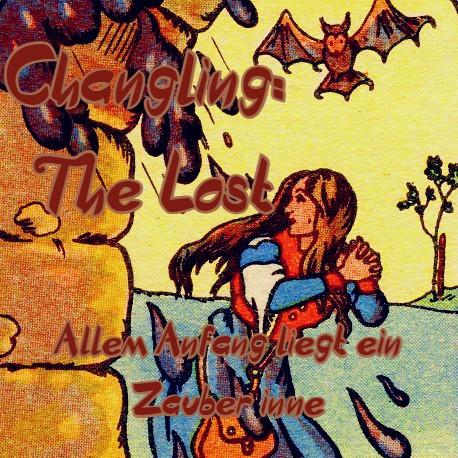 Das Bild ist gezeichnet und erinnert an Märchenzeichnungen des 19. Jahrhunderts  Man sieht ein Blondes Mädchen mit blau weiß orangenem Kleid die Angstvoll nach hinten schaut links im Bild ist eine Mauer mit aus der schwarze Wolken und Regentropfen hervorkomme. Rechts im Hintergrund flattert eine schwarze bedrohlich wirkende Fledermaus. Links sieht man die Schrift: Channeling: The Lost. Unten im Bild die Schrift: jedem Anfang liegt in Zauber inne.
